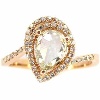 Kabella Luxe 18k Rose Gold Pear Rose-cut 1 1/3ct TDW Diamond Ring (J-K, I2-I3) (Size 6.5)|https://ak1.ostkcdn.com/images/products/10387969/P17492038.jpg?impolicy=medium