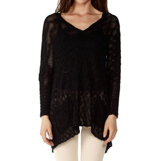 Women's Oversize V-Neck Knit Dolman Sleeve Sweater