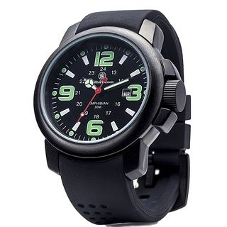 SandW Amphibian Commando Watch with Glow Dial Rubber Band-Black