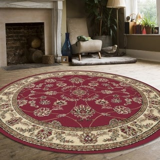 Admire Home Living Amalfi Floral Red Area Rug (8' x 8')