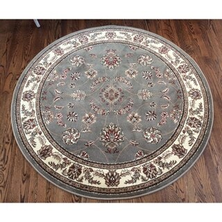 Admire Home Living Amalfi Floral Sage Area Rug (5'3 x 5'3)