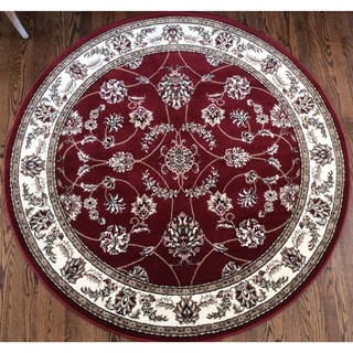 Admire Home Living Amalfi Flora Red Area Rug (5'3 x 5'3)