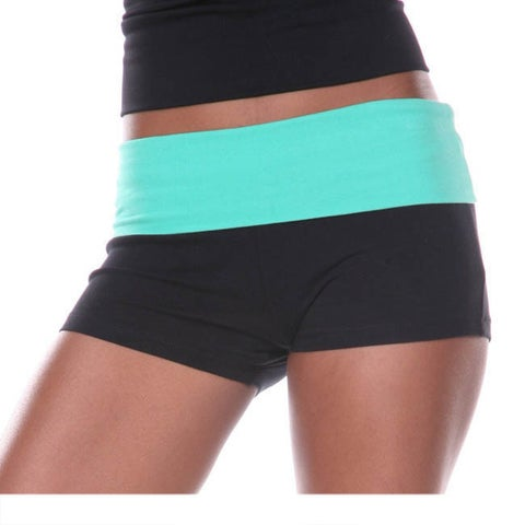 White Mark Women's Yoga Fold Over Shorts