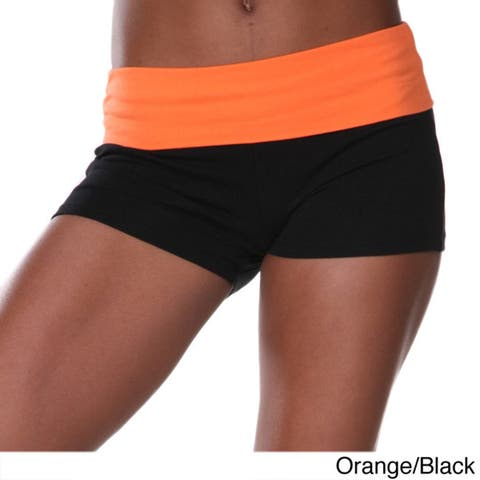 White Mark Women's Yoga Fold Over Shorts