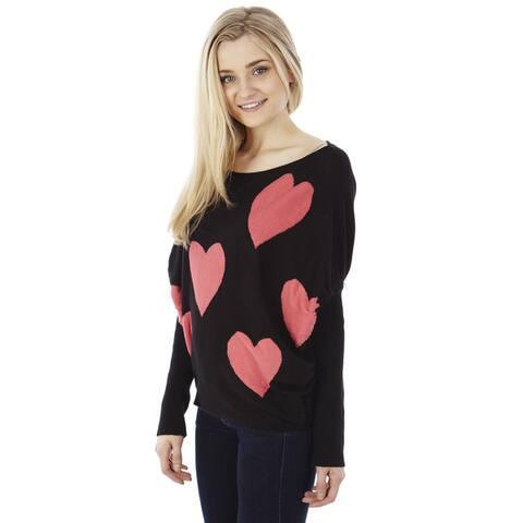 Juniors' Heart Knit Pullover Sweater