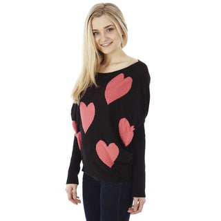 Juniors' Heart Knit Pullover Sweater