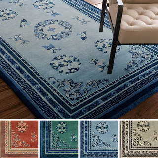 Hand-Knotted Ashford Floral Indoor Wool Rug (8' x 11')