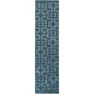 Hand-Knotted Angeline Geometric Indoor Rug (2'6 x 10')
