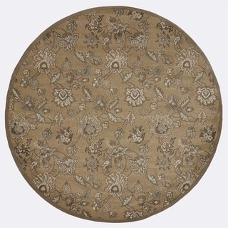 Admire Home Living Plaza Floral Beige Area Rug (5'3 Round)