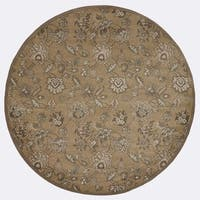 "Admire Home Living Plaza Floral Beige Area Rug (5'3 Round) - 5'3"" x 5'3"""