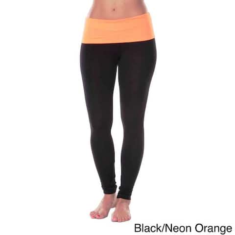 White Mark Women's Yoga Fold Over Leggings
