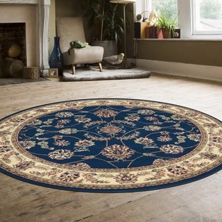 Admire Home Living Amalfi Flora Navy Area Rug (8' Round)