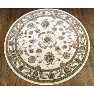 Admire Home Living Amalfi Flora Ivory Area Rug (5'3 Round)