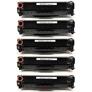 Compatible HP CE410X Black Toner Cartridge LaserJet Pro 300 color MFP M375nw LaserJet Pro 400 color M451dn (Pack of 5)