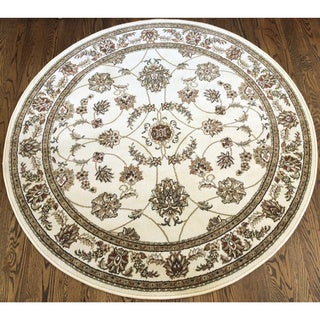 Admire Home Living Amalfi Flora Ivory Area Rug (8' Round)