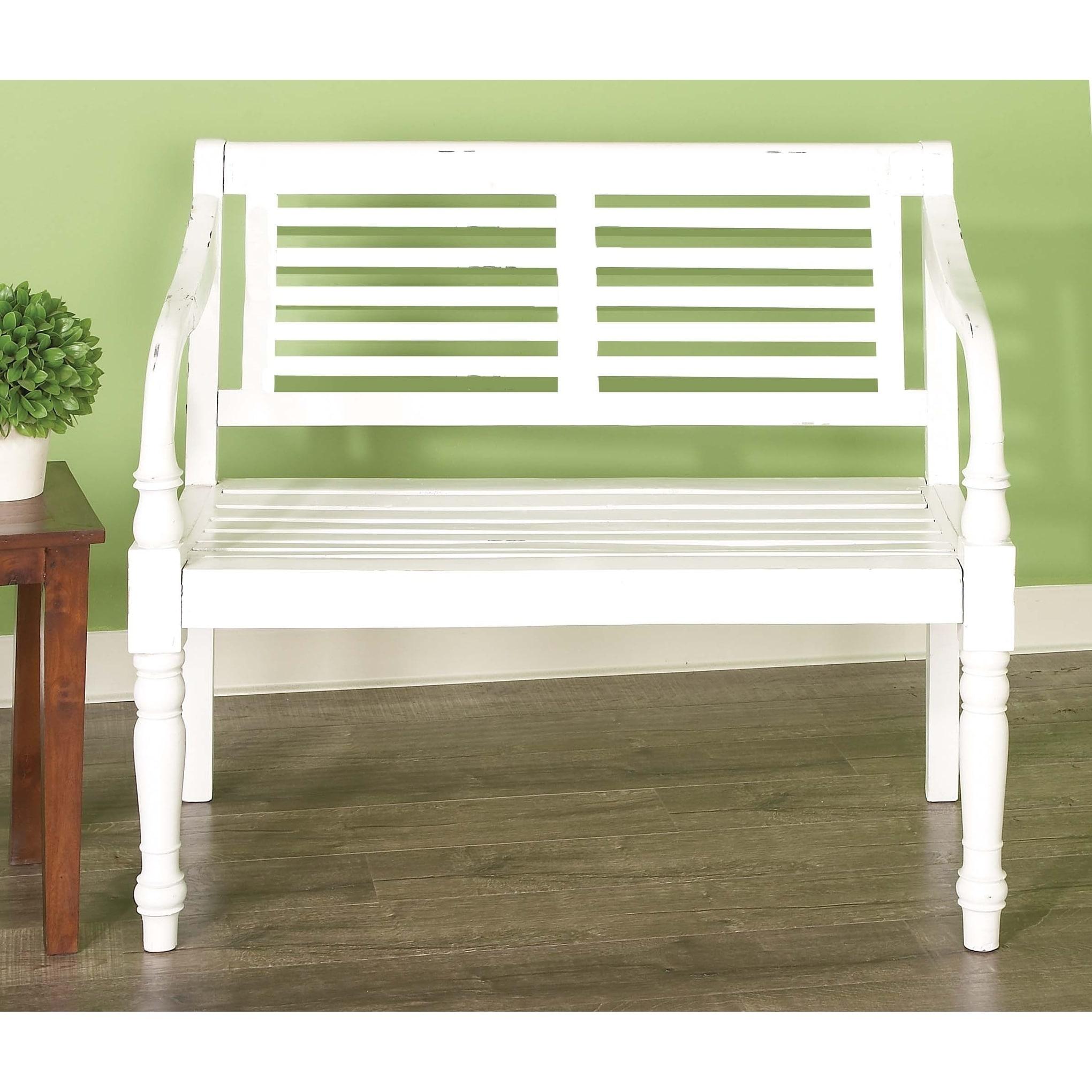 Studio 350 White Wood Traditional Bench, Size 36 x 40 x 2...