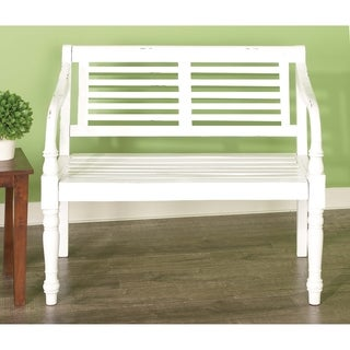 Farmhouse 36 x 40 Inch White Mahogany Wood Slatted Bench by Studio 350