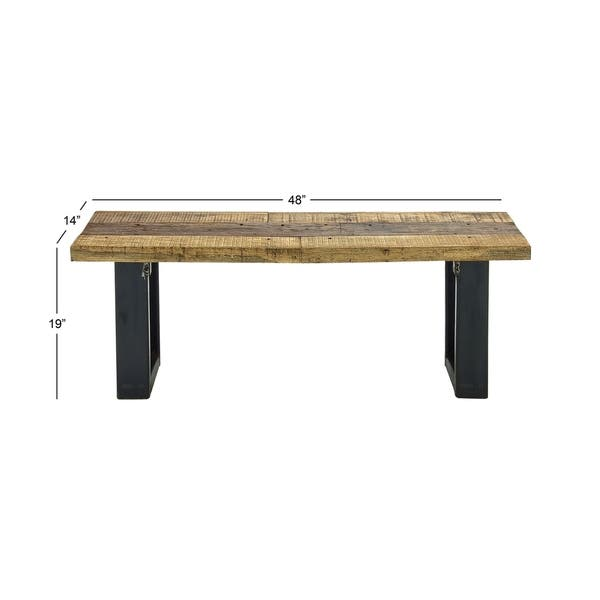 Phenomenal Shop Rustic 19 X 48 Inch Wood And Metal Outdoor Bench By Gmtry Best Dining Table And Chair Ideas Images Gmtryco