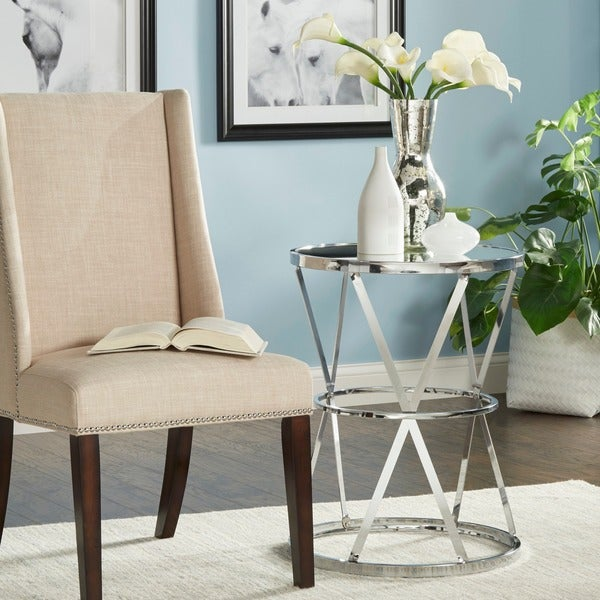 Berke Mirrored Top Round End Side Table By INSPIRE Q Bold   Free Shipping  Today   Overstock.com   17492429