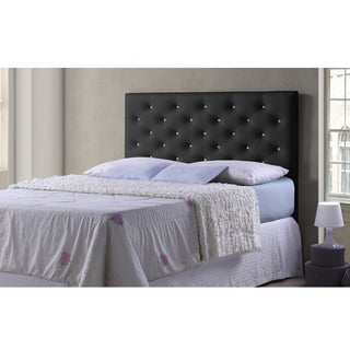 Baxton Studio Viviana Modern and Contemporary Full/Queen Size Black Faux Leather Upholstered Crystal-tufted Headboard