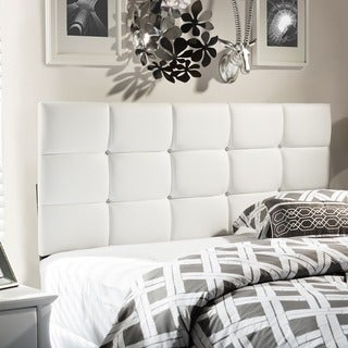 Baxton Studio Bordeaux Contemporary Full/ Queen-size White Faux Leather Upholstered Crystal-tufted Headboard