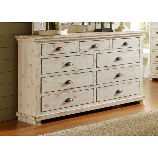 Willow Distressed White Drawer Dresser Free Shipping