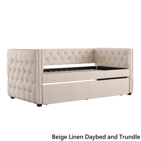 86d73189f7d8 Knightsbridge Twin Tufted Nailhead Chesterfield Daybed and Trundle by  iNSPIRE Q Artisan
