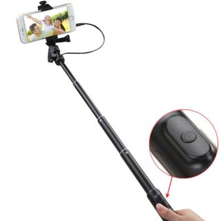 Insten Black Handheld Wired Selfie Stick Tripod Monopod For Android/ IOS/ Samsung Galaxy S6/ Edge/Apple iPhone 6/ 6+