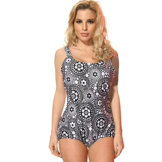 Dippin Daisys Plus Size Black/White Circular Flowers One-piece Swimsuit