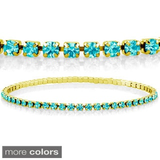 Goldplated Turquoise Crystal Elastic Bracelet