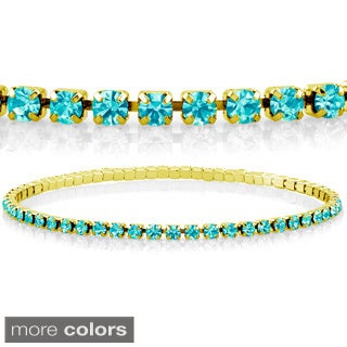 Goldplated Turquoise Crystal Elastic Bracelet (2 options available)