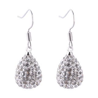 Rhodium-plated Crystal Teardrop Earrings