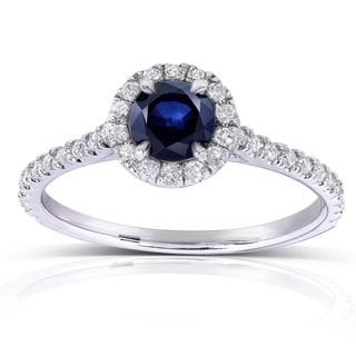 Annello by Kobelli 14k White Gold Round-cut Sapphire and 1/4ct TDW Diamond Halo Ring (G-H