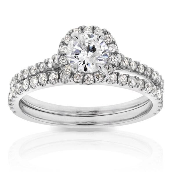Annello by Kobelli 14k White Gold 7/8ct TDW Round Diamond Halo Bridal Wedding Set
