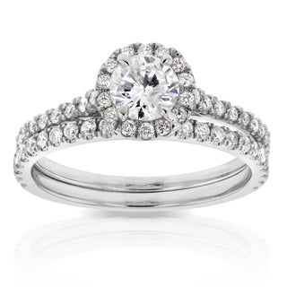 Annello By Kobelli 14k White Gold 7 8ct TDW Round Diamond Halo Bridal Wedding Set