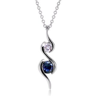 Annello 14k White Gold Blue Sapphire and Diamond Ripple Necklace (G-H, I1-I2)
