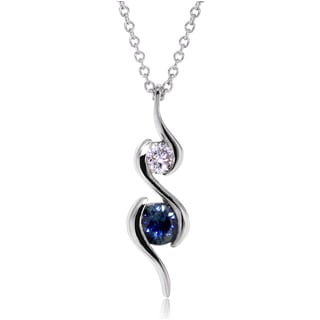 Annello by Kobelli 14k White Gold Blue Sapphire and Diamond Ripple Necklace (G-H, I1-I2)