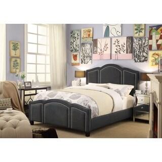 Moser Bay Furniture Belita Queen Size Linen Charcoal Waved Top Upholstery Bed