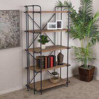 Yorktown Industrial 5 Shelf Firwood Bookcase by Christopher Knight Home