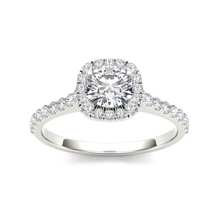 De Couer 14k White Gold 3/4ct TDW Diamond Halo Engagement Ring