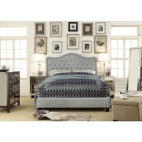 Moser Bay Furniture Adella Queen Size Linen Grey Waved Top Platform Bed