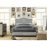 Moser Bay Furniture Adella Queen Size Linen Grey Waved Top Platform Bed