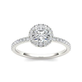 De Couer 14k White Gold 3/4ct TDW Diamond Halo Engagement Ring - White H-I