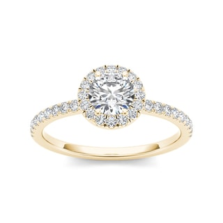 De Couer 14k Yellow Gold 3/4ct TDW Diamond Halo Engagement Ring (H-I, I2)