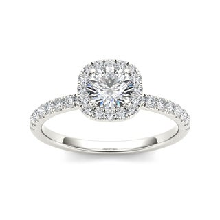 De Couer 14k White Gold 1ct TDW Diamond Halo Engagement Ring (H-I, I2)