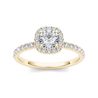 De Couer 14k Yellow Gold 1ct TDW Diamond Halo Engagement Ring (H-I, I2)