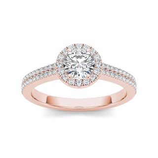 De Couer 14k Rose Gold 1ct TDW Diamond Halo Engagement Ring