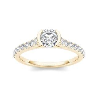 De Couer 14k Yellow Gold 3/4ct TDW Diamond Half-Bezel Engagement Ring