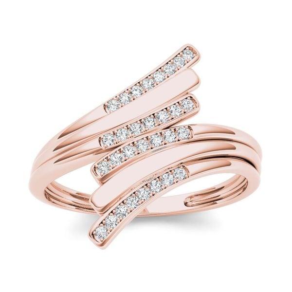 De Couer 10k Rose Gold 1/10ct TDW Diamond Triple Ribbon Ring - Pink