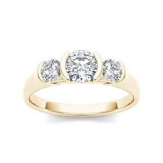 De Couer 14k Yellow Gold 1 1/4ct TDW Diamond Three Stone Anniversary Ring